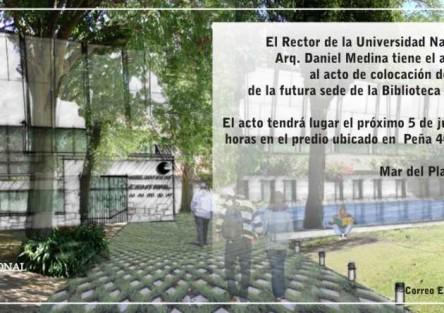 Piedra fundamental de la obra de la Biblioteca Central de la UNMdP