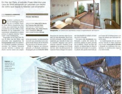 Publicacion del suplemento Clarín Arquitectura de la reforma de la casa en la calle Peña , «Un Chalet Reformulado»