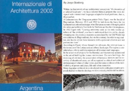 Proyecto para Punta Mogotes.Presentacion en la Bienal de Venecia.2002