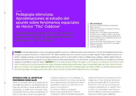 """«Pedagogía silenciosa. Aproximaciones al estudio del apunte sobre fenómenos espaciales de Héctor """"Tito"""" Oddone»"""